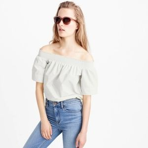 NEW J Crew White Cotton Off The Shoulder Top | 6